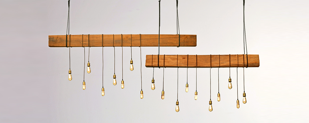 Industrial Wood Beam Pendant Lamp by Piment Rouge Lighting Bali