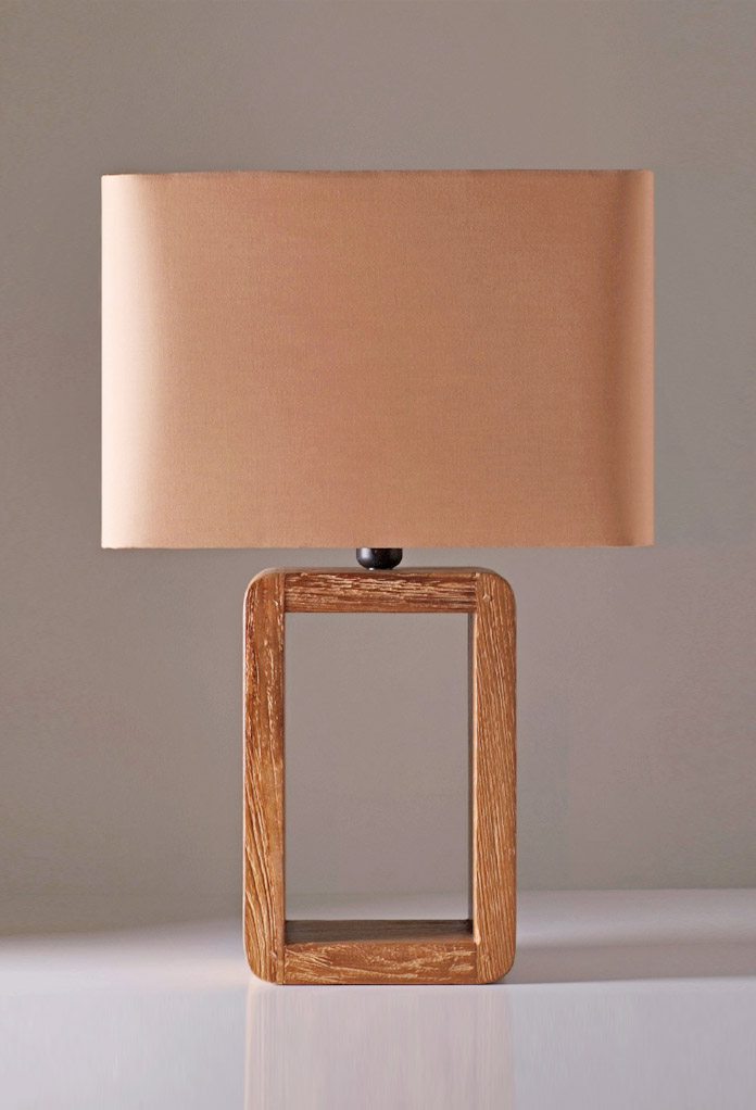Piment Rouge Lighting Bali - Long Teak Frame Table Lamp