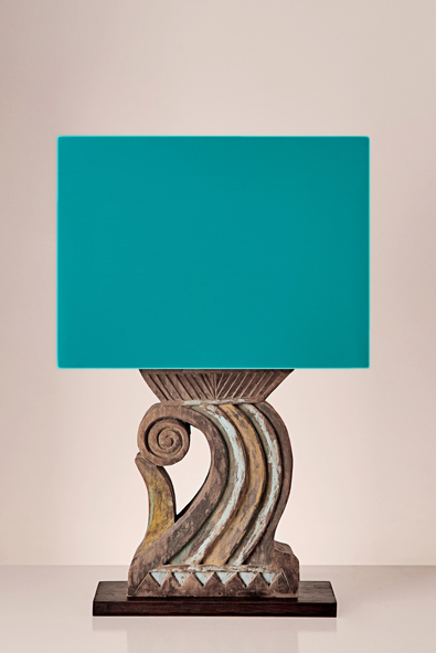 Volute Table Lamp with Turquoise Green Lampshade by Piment Rouge Lighting Bali