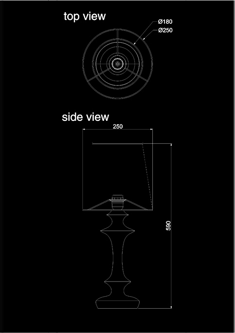 table lamp alexia technical drawing
