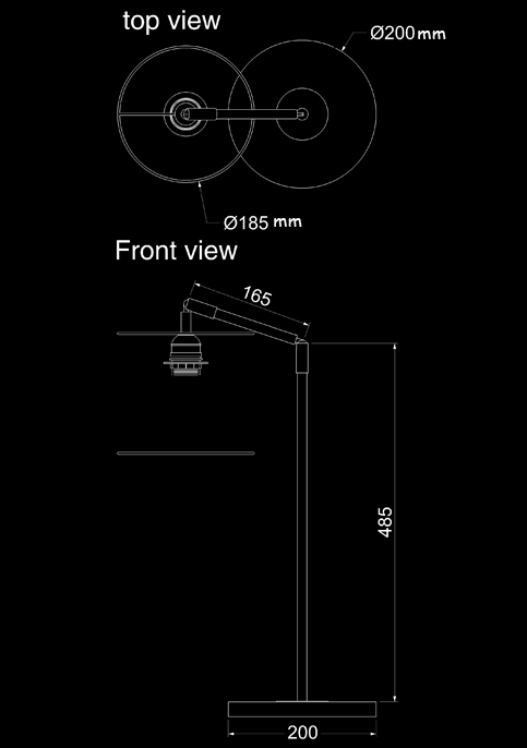 table lamp desk table stainless technical drawing