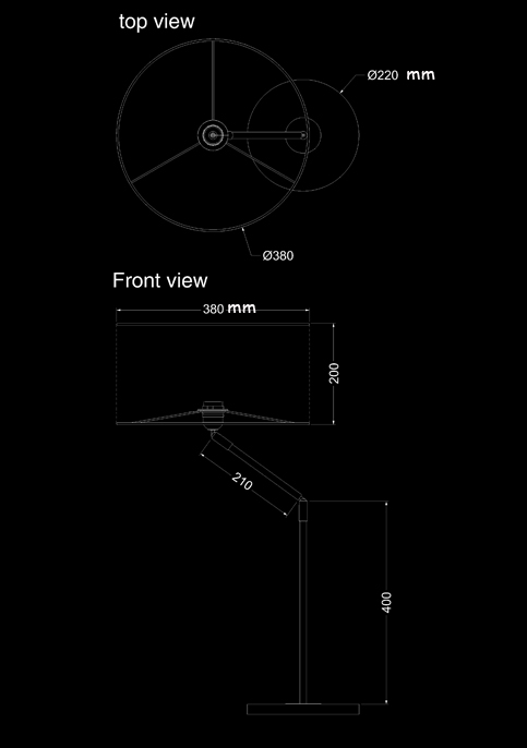 table lamp envol wood technical drawing