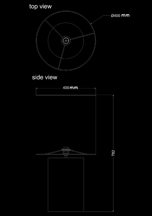 table lamp fossil round m technical drawing