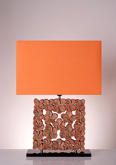 table lamp frame frangipani orange