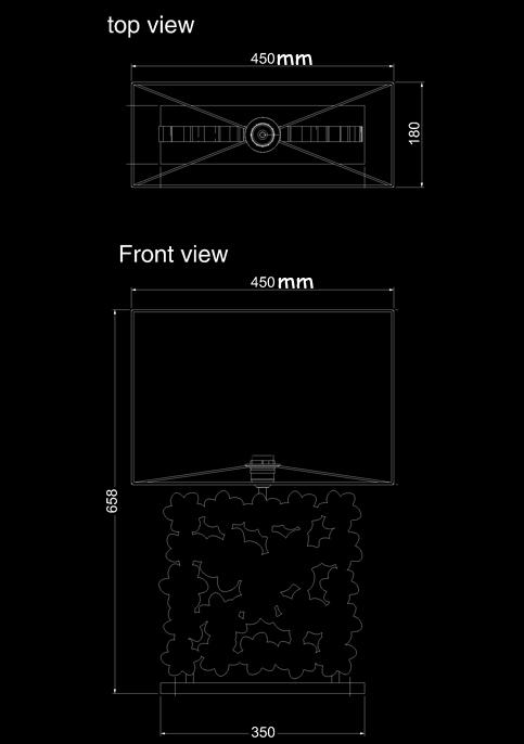 table lamp frame frangipani technical drawing