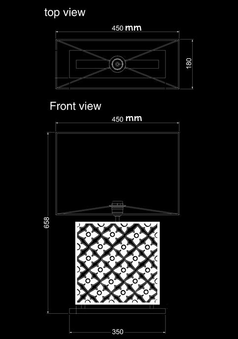 table lamp frame kopi square technical drawing