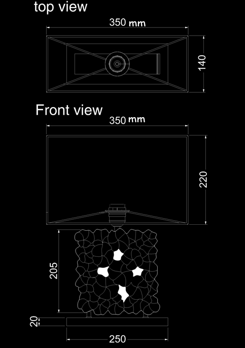 table lamp frangipani stone technical drawing