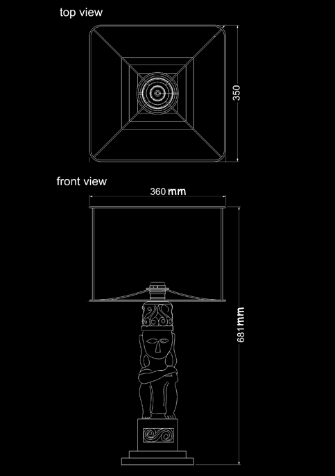 table lamp patung linen technical drawing