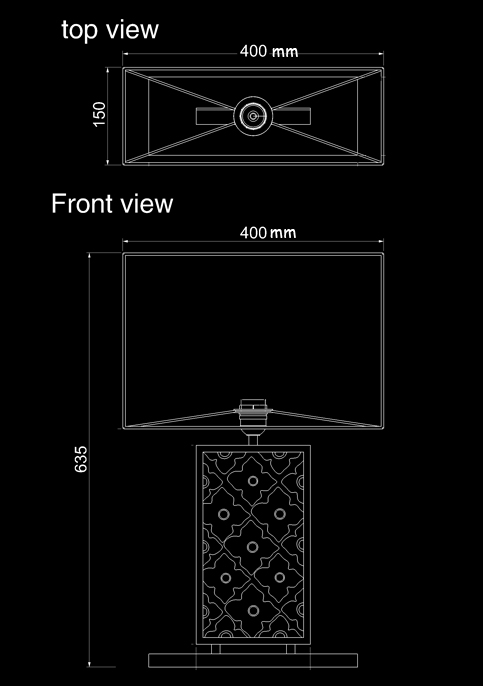table lamp samira long technical drawing