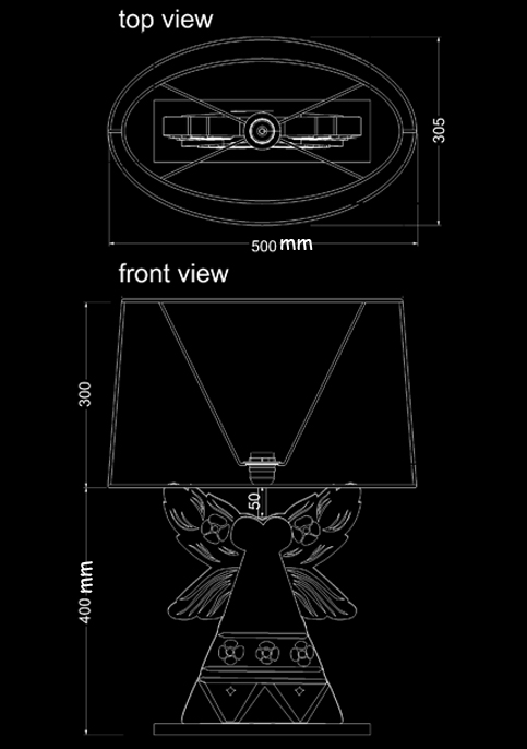 table lamp sega technical drawing