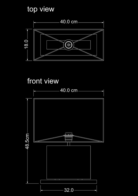table lamp table fossil rectangular technical drawing