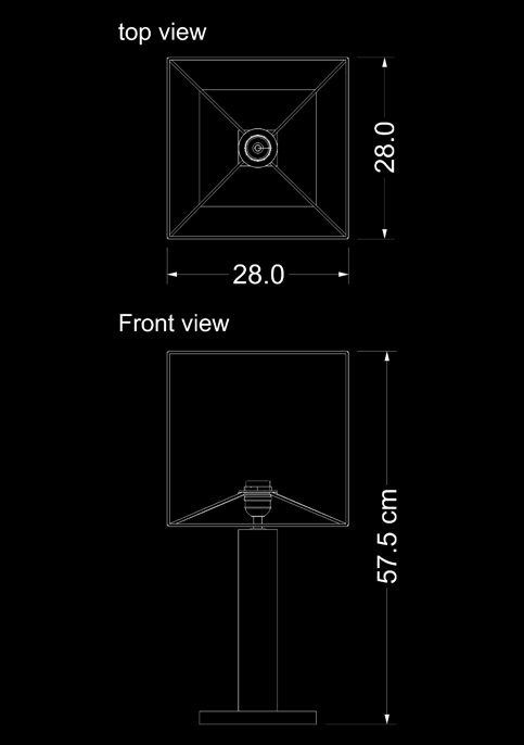 table lamp table fossil square technical drawing