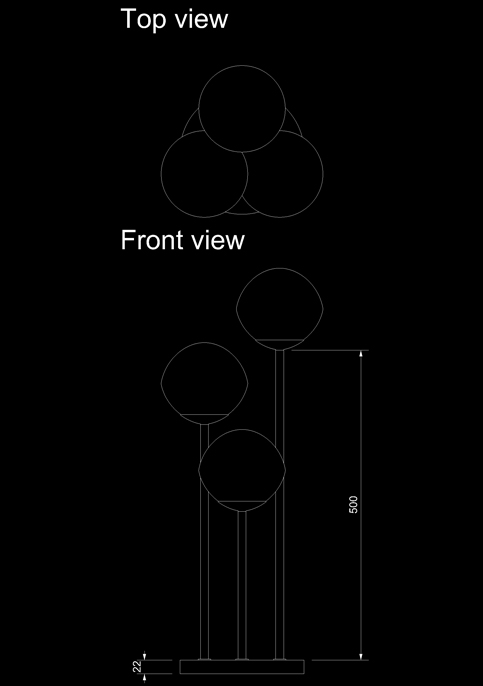 table lamp table three venus technical drawing