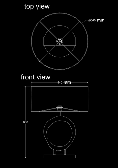 table lamp tree round no led technical drawing
