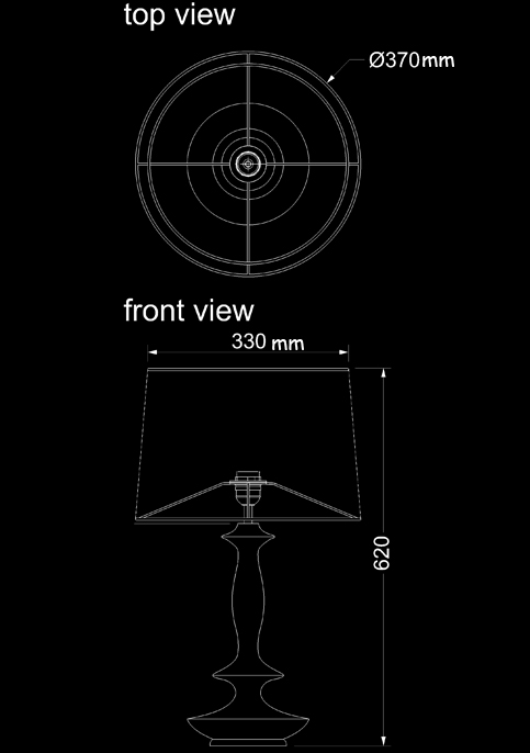 table lamp verdia technical drawing