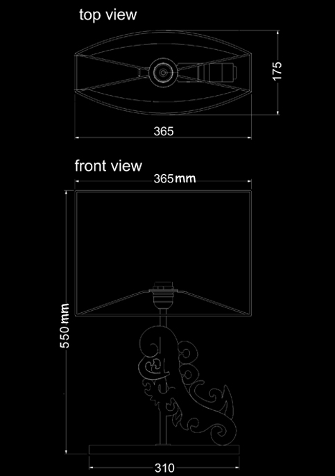 table lamp wing technical drawing