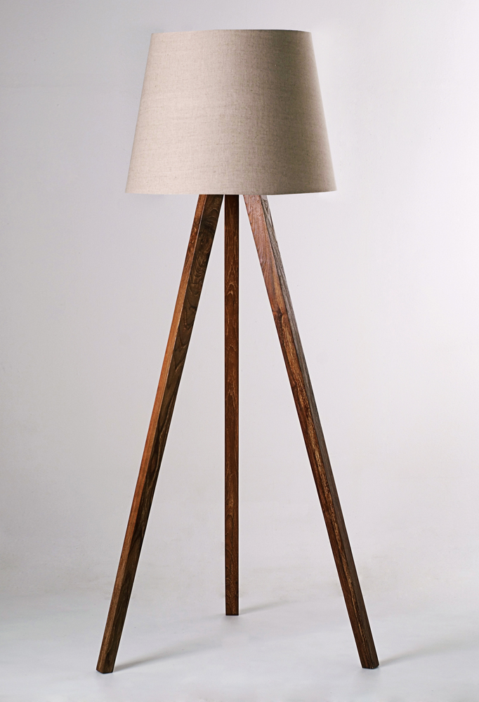 Piment Rouge Lighting Bali - Standing Tripod Lamp with New Lampshade