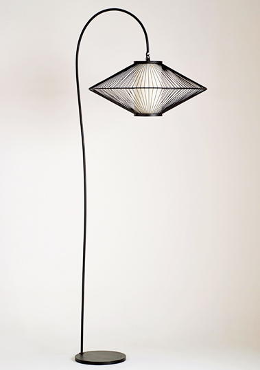 XL Black UFO Floor Lamp by Piment Rouge Lighting Bali