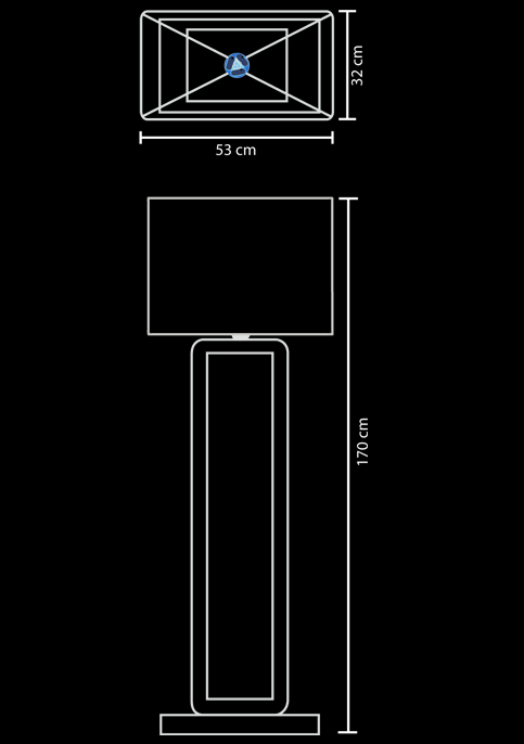 floor lamp frame teak technical drawing