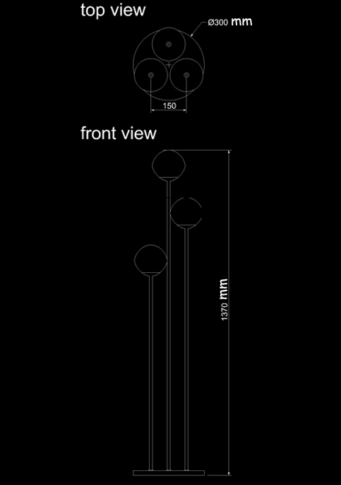 floor lamp three venus technical drawing