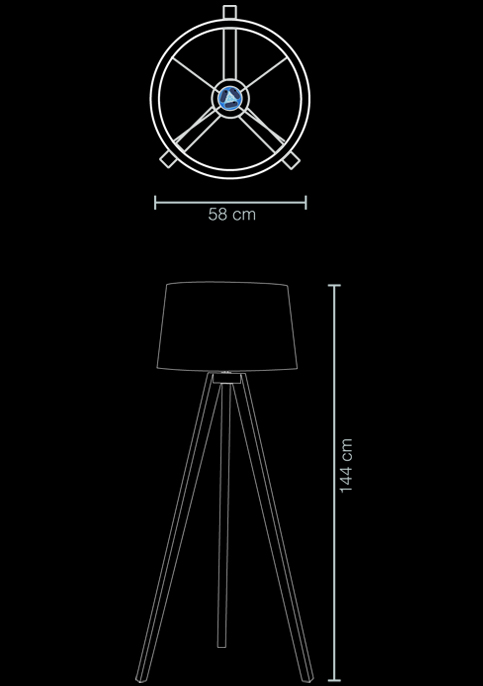 floor lamp tripod technical drawing
