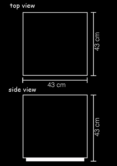 outdoor lamp cube resin led xl technical drawing