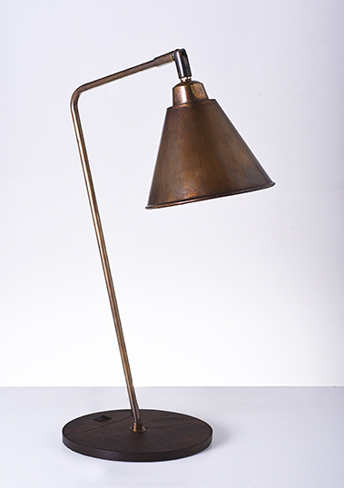 brass reading lamp with wooden base