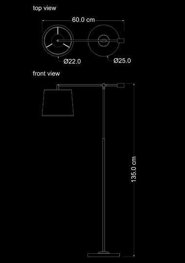 floor lamp floor reading copper technical drawing