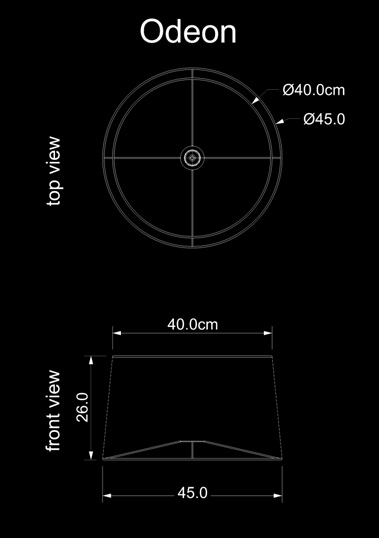 lampshade conical odeon technical drawing