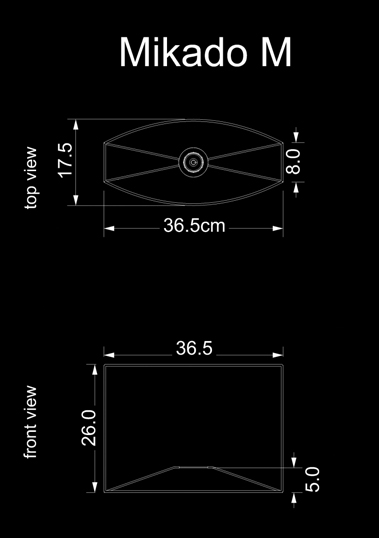 lampshade curved drun mikado m technical drawing