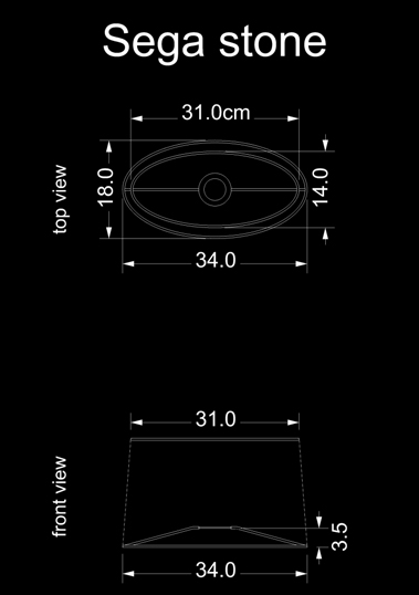 lampshade curved drun sega stone technical drawing