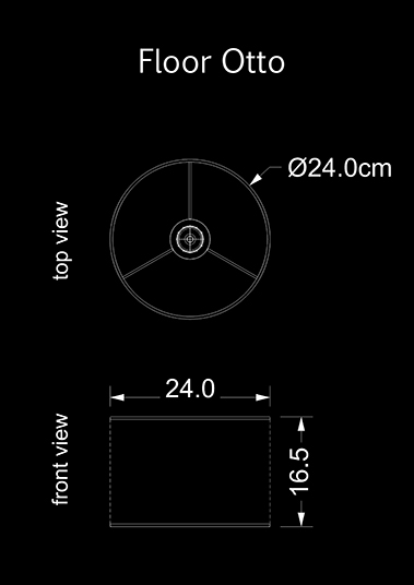 lampshade cylinder floor otto technical drawing
