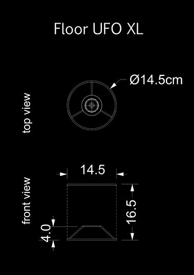lampshade cylinder floor ufo xl technical drawing