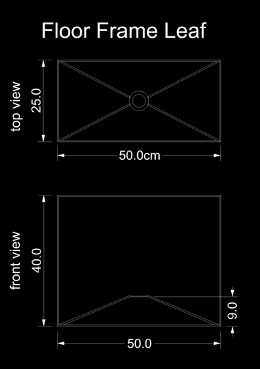 lampshade square floor frame leave technical drawing