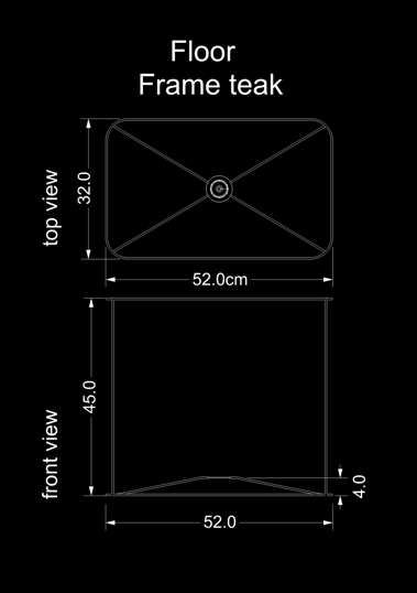 lampshade square floor frame teak technical drawing