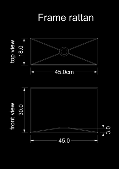 lampshade square frame rattan technical drawing