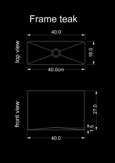 lampshade square frame teak technical drawing