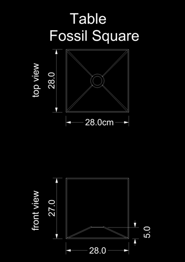 lampshade square table fossil square technical drawing