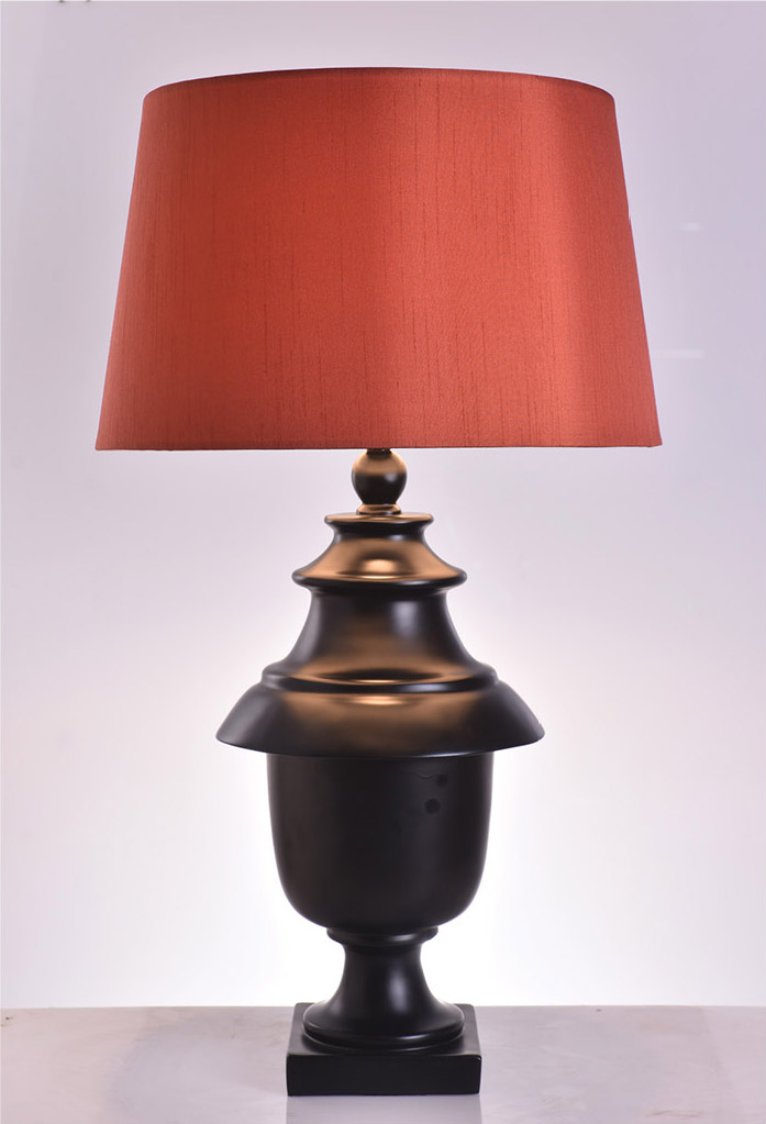 piment rouge custom lighting manufacturer bali indonesia - barocca table lamp with orange lampshade