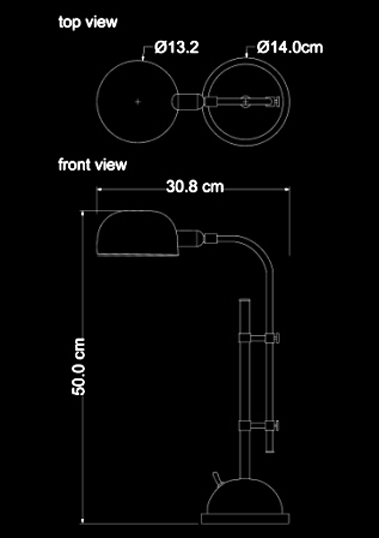 table lamp copper lamp 30th technical drawing