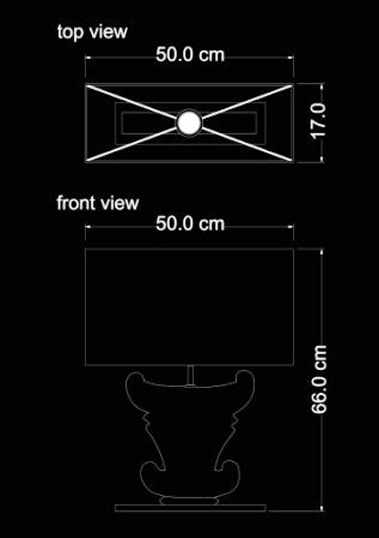 table lamp creta technical drawing