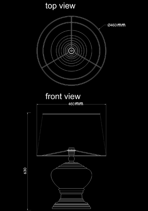 table lamp romano technical drawing