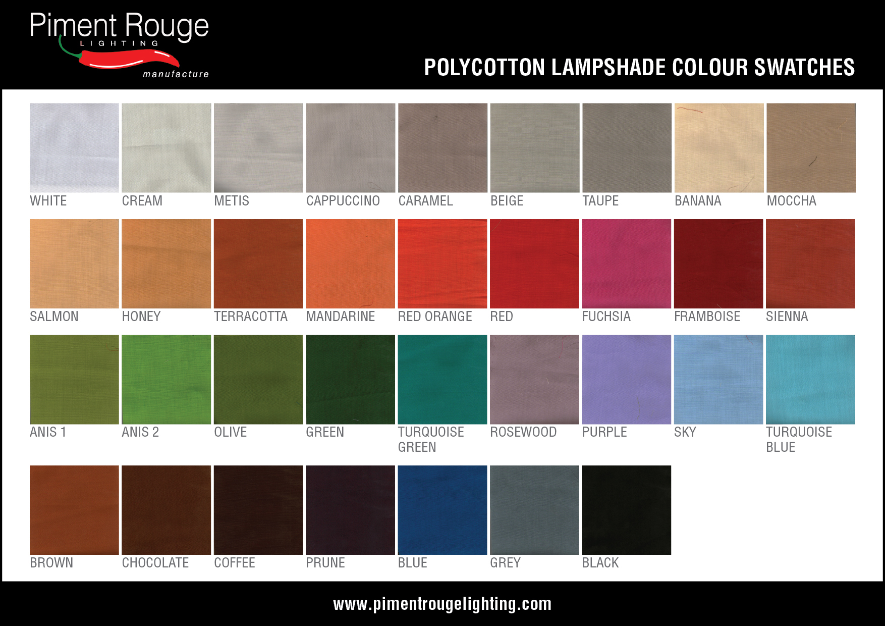piment rouge lighting bali - polycotton lampshade colour swatches