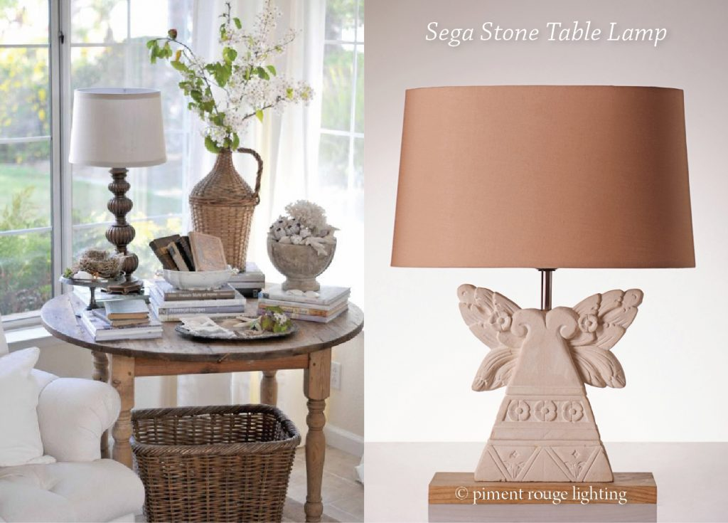 La maison shabby chic style with sega stone table lamp for Maison chic shabby chic