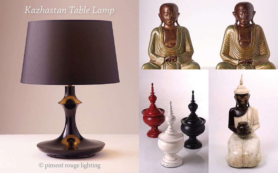 black table lamp and thai style home decor by piment rouge lighting bali