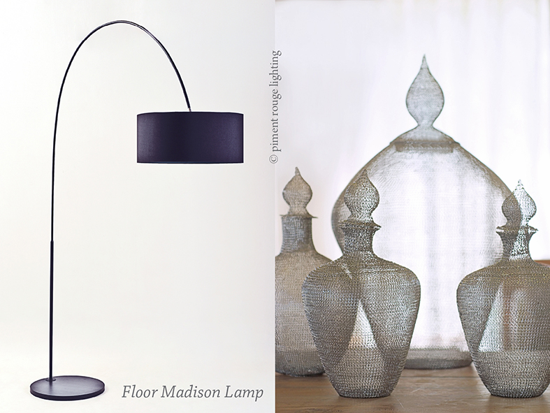 madison floor lamp and mesh jars by piment rouge lighting bali for a minimalist ambience