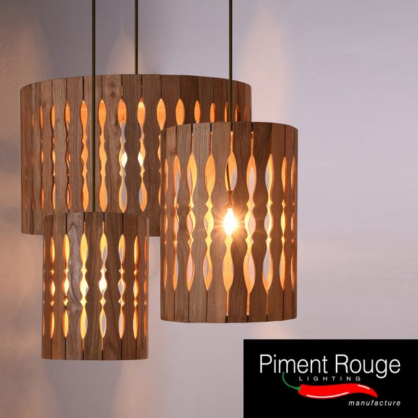 hanging teakwood lamps by piment rouge lighting manufacture bali