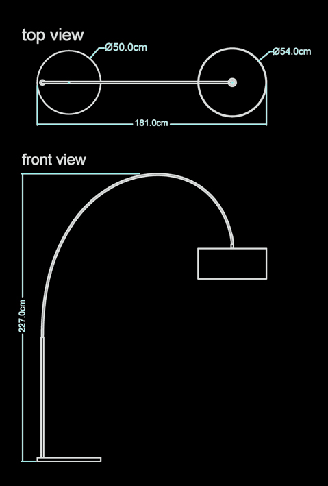 madison floor lamp technical drawing by piment rouge lighting bali