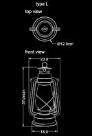 storm lantern outdoor lamp L technical drawing by piment rouge lighting bali