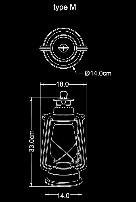 storm lantern outdoor lamp M technical drawing by piment rouge lighting bali